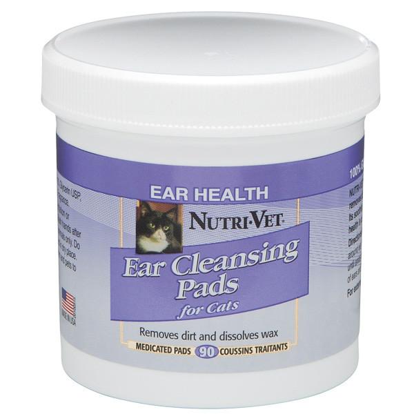 Nutri-Vet Feline Ear Wipe НУТРИ-ВЕТ ЧИСТЫЕ УШИ влажные салфетки для гигиены ушей кошек, 90 шт
