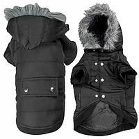 Flamingo Polar Black ФЛАМИНГО ПОЛАР одежда для собак, куртка с капюшоном, черный 34 см