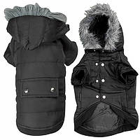 Flamingo Polar Black ФЛАМИНГО ПОЛАР одежда для собак, куртка с капюшоном, черный 42 см