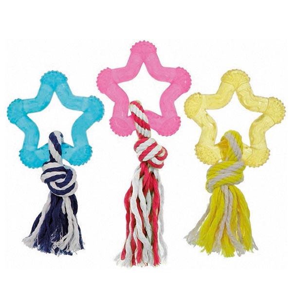 Flamingo Good4Fun Star With Rope ФЛАМИНГО ГУД ФО ФАН звезда игрушка для собак с веревкой, латекс 8 см