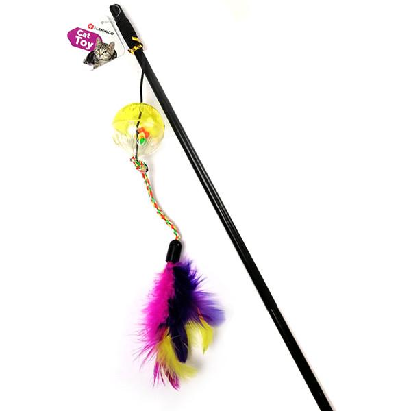 Flamingo Ball&Feathers ФЛАМИНГО игрушка дразнилка для кошек, удочка с мячом и перьями, 50 см 50 см