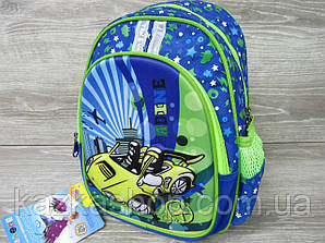 """Детский рюкзак для школьников 1-3 класов, на два отдела, 3D оформление на лицевой части """"Машина"""""""