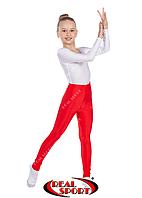 Лосины для художественной гимнастики и танцев, красные RS GM040033 (эластан, р-р 1-4, рост 104-152см)