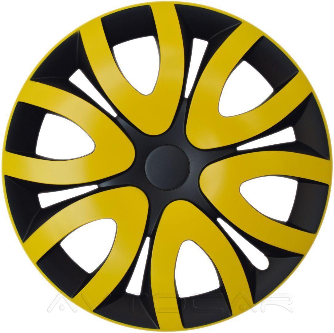 Колпаки колесные MIKA радиус R15 4шт Olszewski Жёлтый ⟃ чёрный