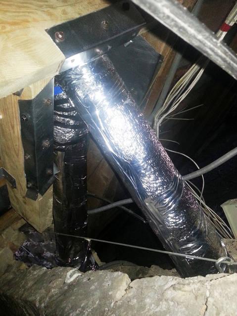 Разводка труб вентиляции (гильзование существующих вентиляционных каналов) по чердаку 5-ти этажного дома.