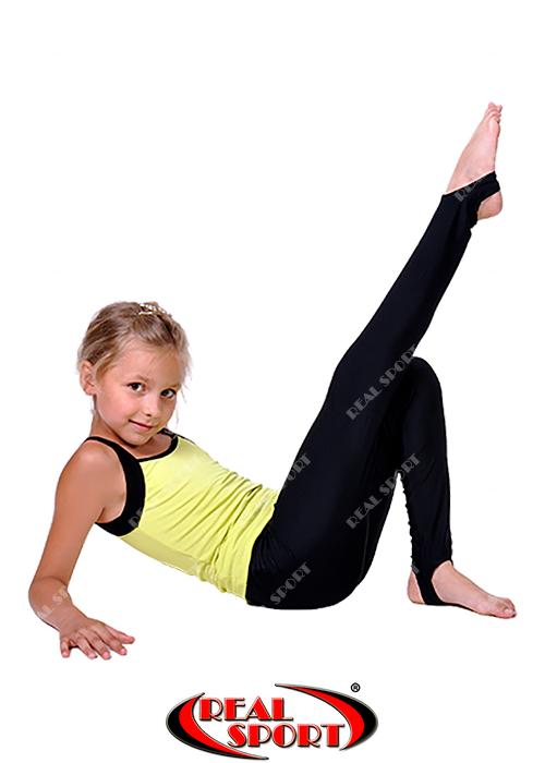 Лосины со следом для танцев и гимнастики, черные RS GM040038 (эластан, р-р 60-72, рост 110-146см)