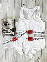 Женский комплект белья Calvin Klein Monogram  тройка (топ+стринги+шорты), белый