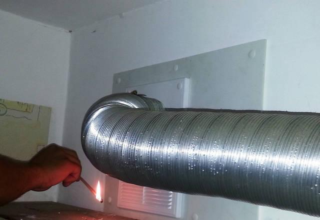 Естественная тяга проверка (вентиляционный канал кухни и кухонной вытяжки).