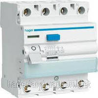 Устройство защитного отключения 40А, 4п, тип АC, 300мА, УЗО HAGER CF441J
