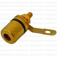 Штекер акустический Banan, монтажное, корпус металлический gold, чёрное