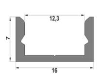 Алюмінієвий профіль ЛП7 для світлодіодних стрічок лед  11859