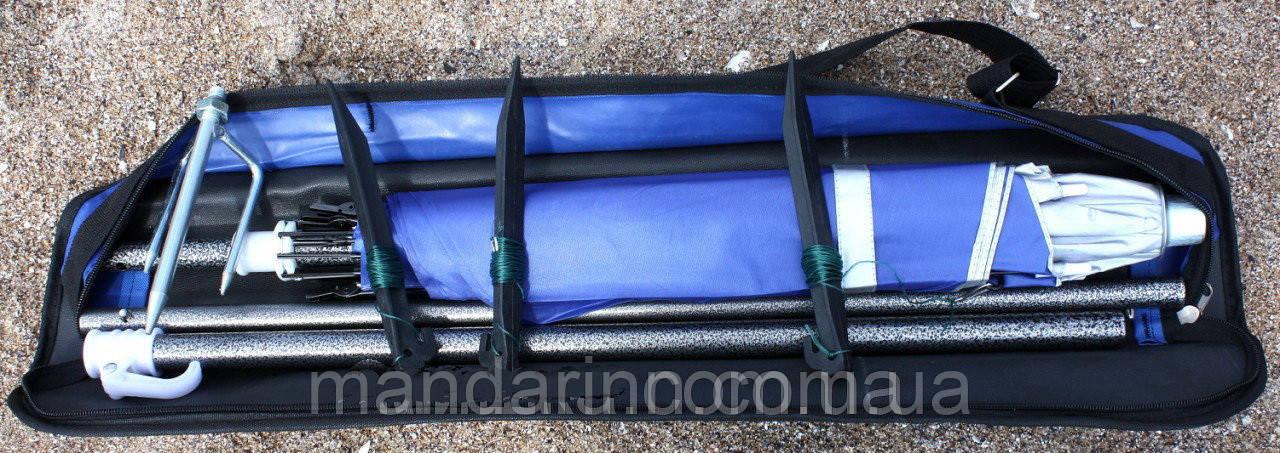 Пляжний зонт компактний, складаний, 160см, блакитний і зелений колір - фото 9