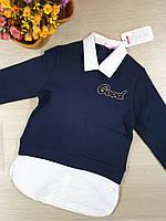 Школьная кофта-обманка с воротником для девочки.Размеры 140-164 рост