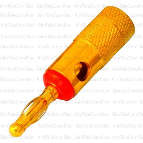 Штекер акустический Banan, gold, корпус металлический, красный