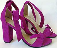 Ultra ленты бант! Летние женские босоножки из натуральной замши на каблуке с завязками, фото 1