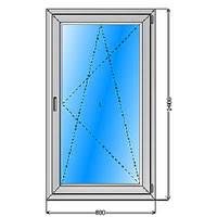 Окно 800 х 1400, открывающееся, с однокамерным, энергосберегающим стеклопакетом.