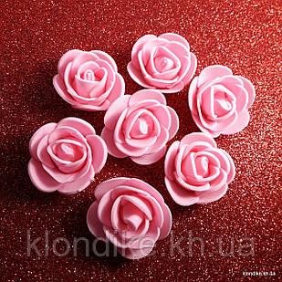 Розочки из фоамирана, 3 см, Цвет: Розовый (50 шт.)