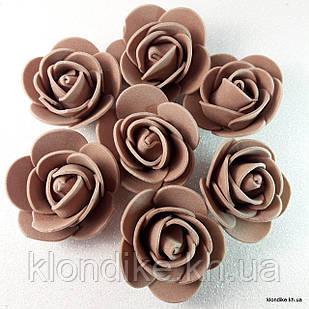 Розочки из фоамирана, 3 см, Цвет: Коричневый (50 шт.)