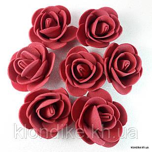 Розочки из фоамирана, 3 см, Цвет: Бордо (50 шт.)
