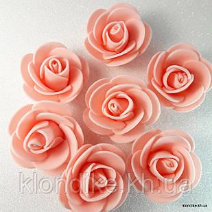 Розочки из фоамирана, 3 см, Цвет: Персик (50 шт.)