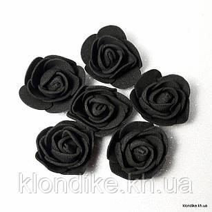 Розочки из фоамирана, 3 см, Цвет: Черный (50 шт.)