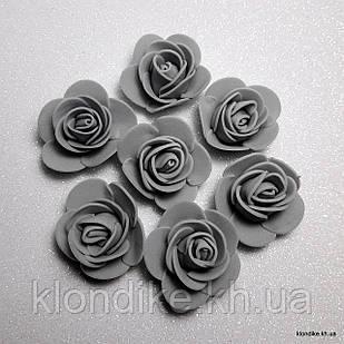 Розочки из фоамирана, 3 см, Цвет: Серый (50 шт.)