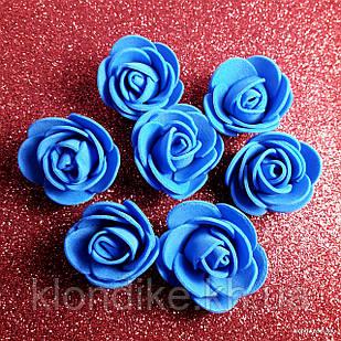 Розочки из фоамирана, 3 см, Цвет: Синий (50 шт.)