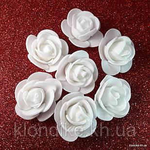 Розочки из фоамирана, 3 см, Цвет: Белый (50 шт.)