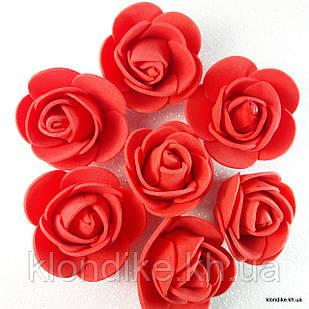 Розочки из фоамирана, 3 см, Цвет: Красный (50 шт.)