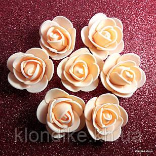 Розочки из фоамирана, 3 см, Цвет: Оранжевый (50 шт.)