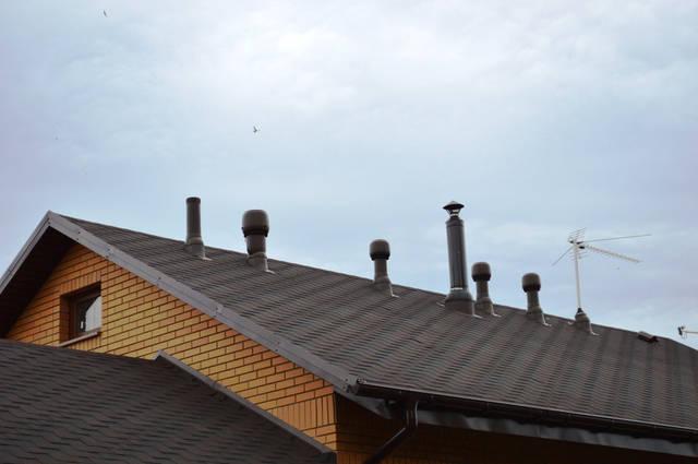 Естественная вентиляция этого дома включает: вентиляцию канализационного стояка, принудительную вентиляцию кухни, душевой, 2-х санузлов, раздевалку для сауны и тренажерного зала (вентилятор), вентиляционный выход сауны, вентвыход кухонной вытяжки.