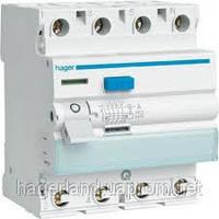 Устройство защитного отключения 100А, 4п, тип А, 300мА, УЗО HAGER CF484D