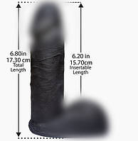 Doc Johnson Фаллоимитатор - насадка для страпона Vac-U-Lock™ - CodeBlack - 6 Inch Ultraskyn™ Cock 15,7х4,3 см.