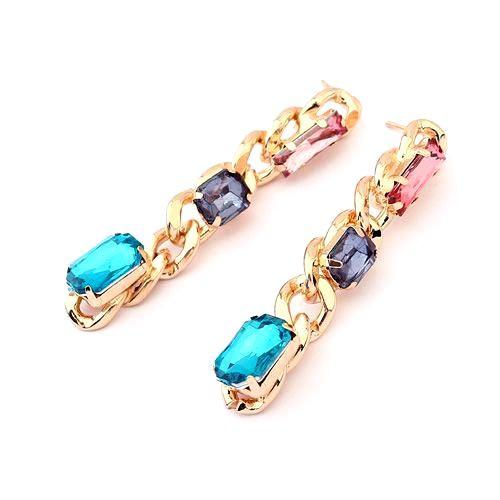 Серьги-цепи с цветными камнями