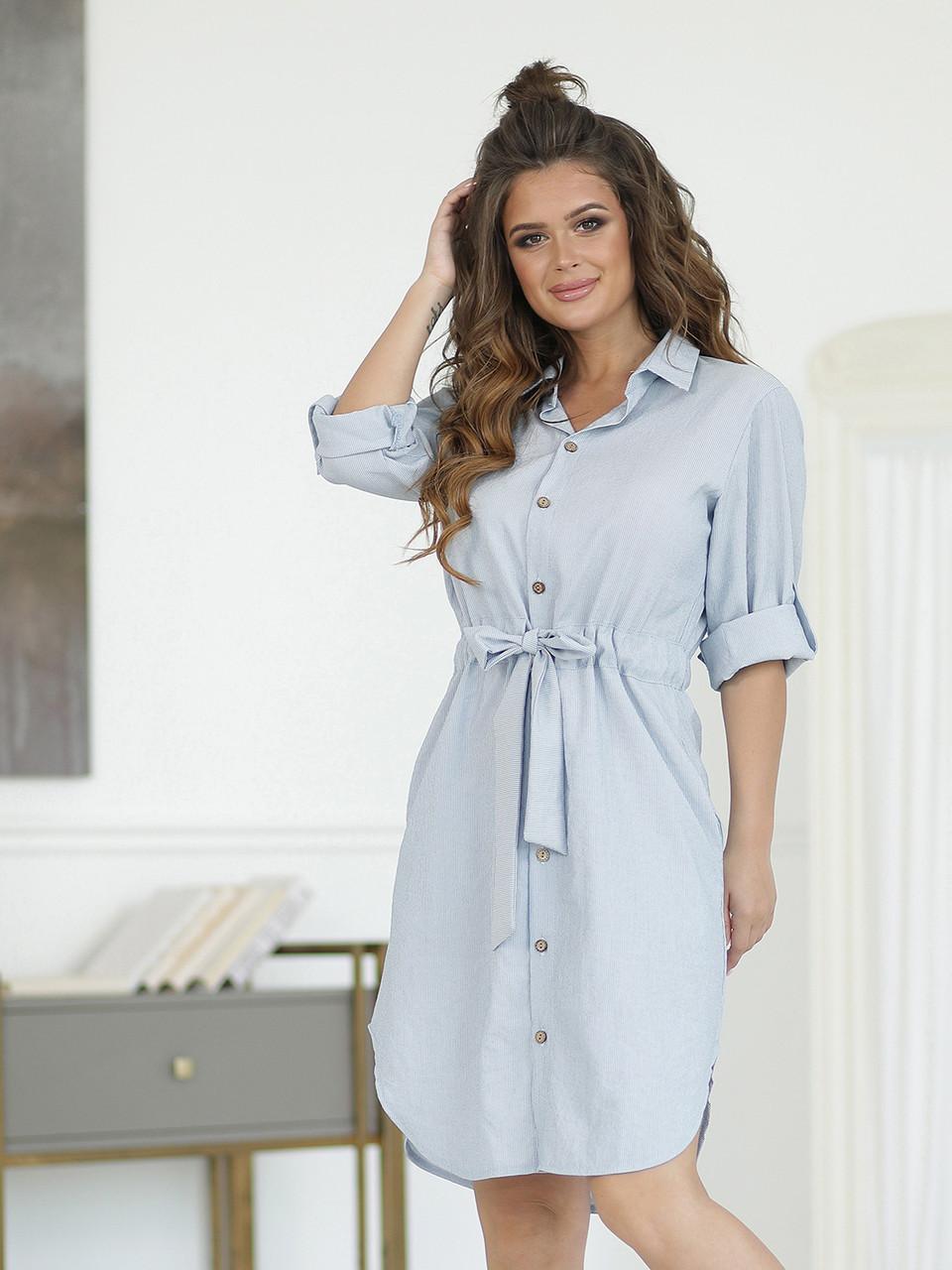 Платье-рубашка в голубую полоску