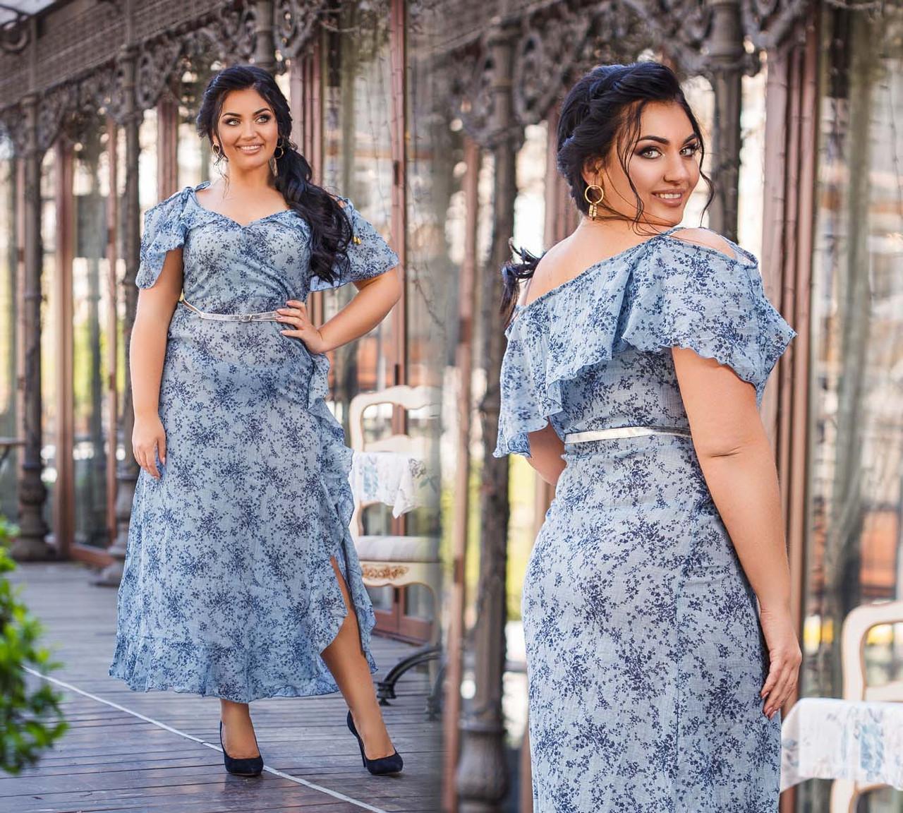 """Элегантное длинное женское платье в больших размерах """"Лён Цветы Плечи Воланы Разрез"""" в расцветках (DG-ак 219)"""