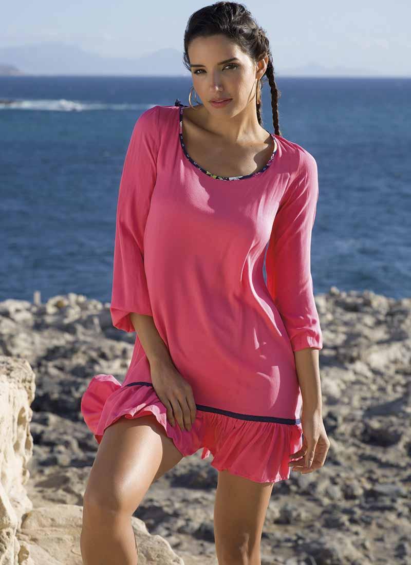 Рожева віскозна пляжна сукня Ysabel Mora 85544 S