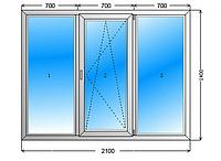 Лоджия\окно 2100 х 1400, 3 камерный профиль, двухкамерный стеклопакет.
