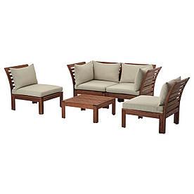 IKEA, APPLARO, 4-местный комплект садовой мебели, коричневая морилка, бежевый (290.486.76)(S29048676) АППЛАРО АПЛАРО ИКЕА