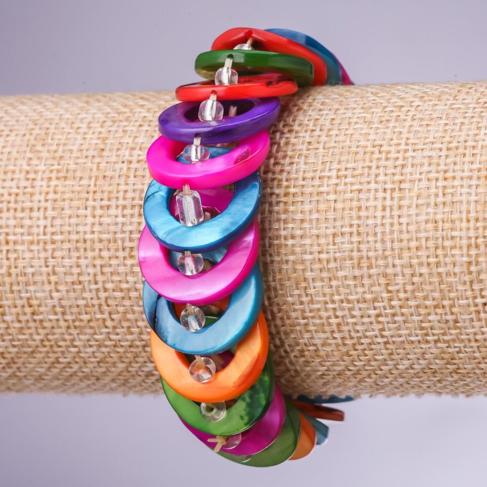 Браслет Перламутр разноцветный, кольца d-20мм обхват 18см на резинке