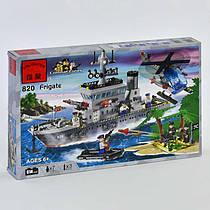 Конструктор Brick 820 (18) 614 дет, Combat Zones Военный корабль, в коробке СОБРАННЫЙ