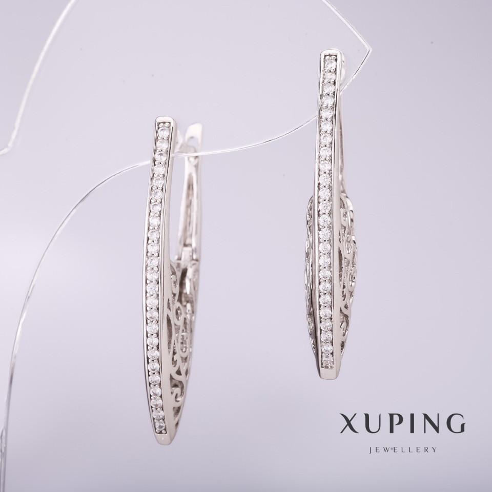 Серьги Xuping с белыми стразами 33х2мм родий