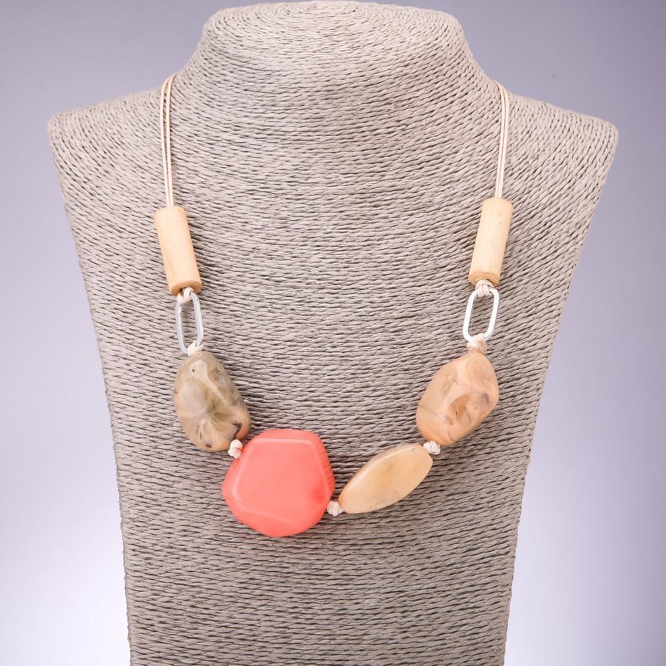 """Колье """"Присцилла"""" с имитацией розовых камней L-45-70см на затяжке"""