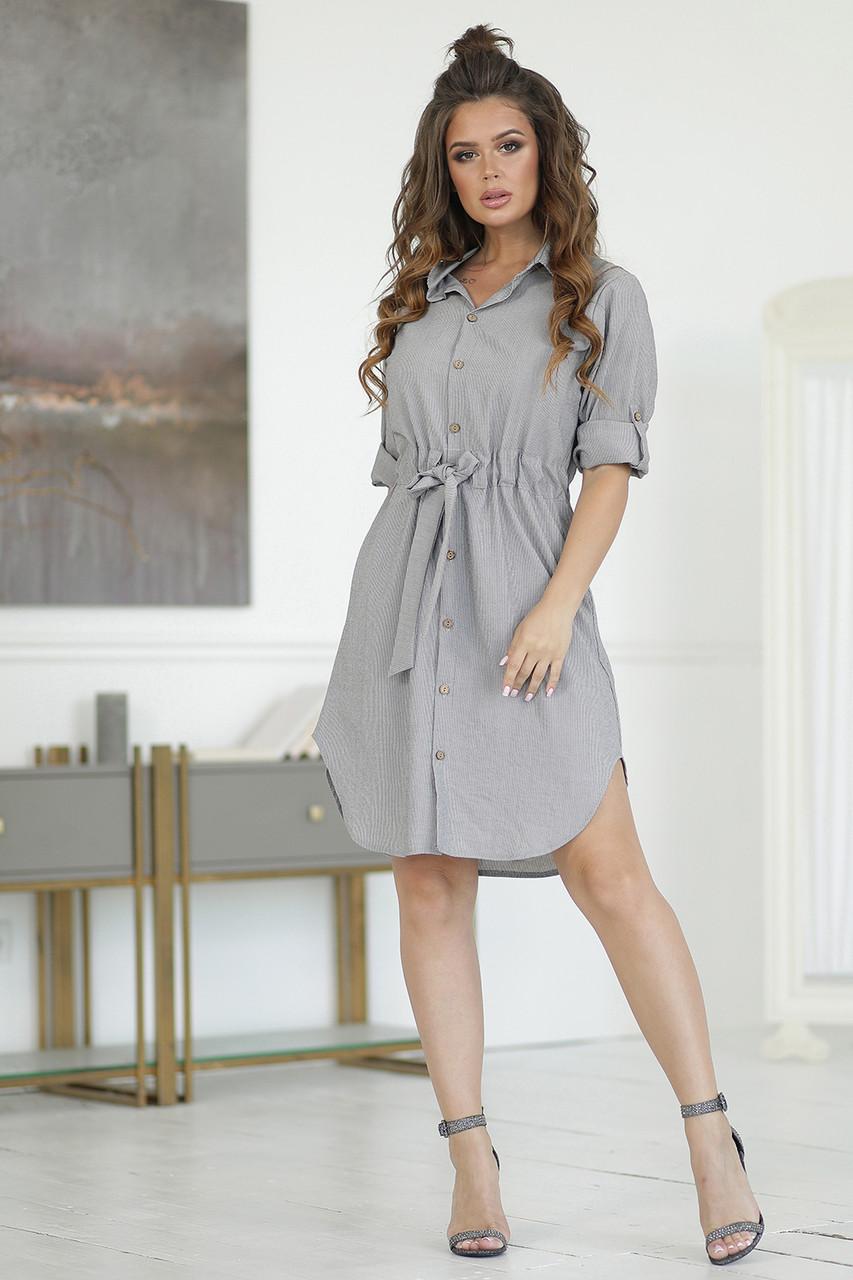 Платье-рубашка в серую полоску