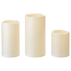 IKEA, GODAFTON, Светодиодная формовая свеча, 3 шт, с батарейным питанием, естественный (503.555.74)(S50355574) ГОДАФТОН ИКЕА