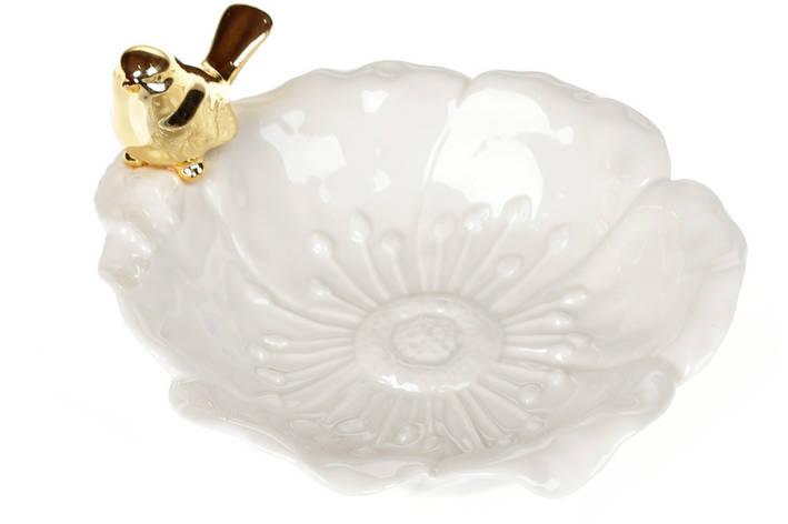 Декоративна тарілочка для прикрас із золотою Пташкою 16,5 см (727-251), фото 2