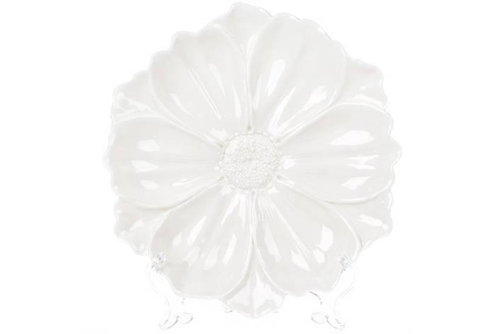 Декоративна тарілка Квітка 24см, колір - білий ( 727-255), фото 2