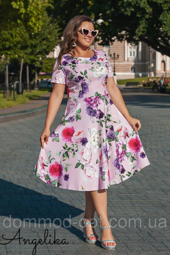 Женское летнее платье №485 (р.48-54) розовый