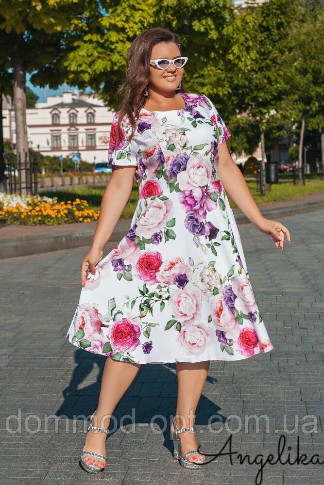 Женское летнее платье №485 (р.48-54) ментол