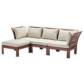 IKEA, APPLARO, 3-местный диван+табурет для ног, садов, коричневая морилка, бежевый, 143/223x80x73 см (190.546.96)(S19054696) АППЛАРО АПЛАРО ИКЕА